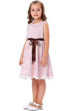 A-Line/Princess Lace Knee Length Flower Girl Dress