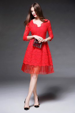 A-Line/Princess Lace Knee-Length Formal Wedding Guest Dresses
