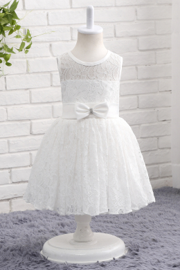 A-Line/Princess Lace Ankle-Length Princess Flower Girl Dress