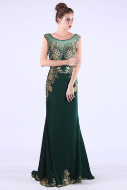 Sheath/Column Scoop Neckline Floor-Length Chiffon Evening Dress with Applique