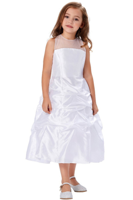A-Line/Princess Satin Ankle Length Dresses for Flower Girl in Wedding