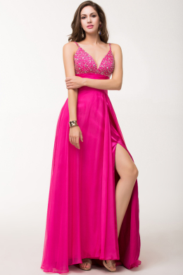 A-Line/Princess V-Neck Floor Length Chiffon Prom Dress with Front Slit