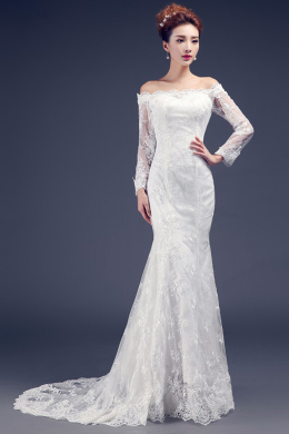 Sheath/Column Lace Sweep Train Top Wedding Dress Designers