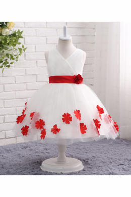 A-Line/Princess Tulle Ankle-Length Flower Girl White Dresses