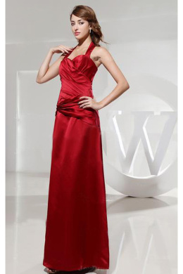 Sheath/Column Halter Floor Length Elastic Satin Mother of the Bride Dresses With Pleats