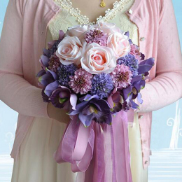 Rose Artificial PurpleΠnk Bouquet-Bridal Wedding Bouquet