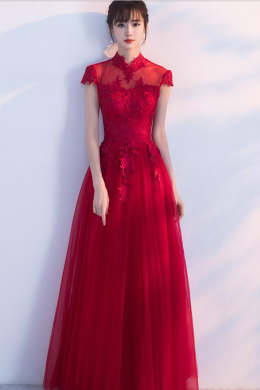 A-Line/Princess Tulle Floor Length Dresses for a Wedding