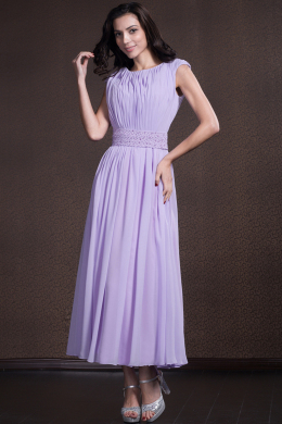 A-Line/Princess Jewel Neck Ankle-Length Chiffon Bridesmaid Dress with Pleats