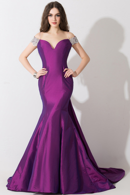 Sheath/Column Off-the-Shoulder Floor Length Taffeta Evening Dress with Beads