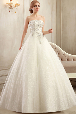 Ball Gown Strapless Floor Length Tulle Wedding Dress With Applique