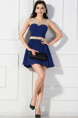 A-Line/Princess Jewel Neck Mini Length Chiffon Cocktail Dress with Beads