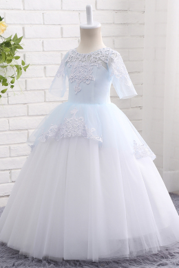 A-Line/Princess Tulle Floor-Length Flower Girl Long Dresses