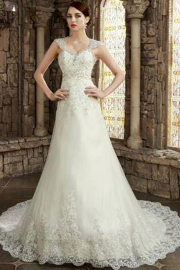 A-Line/Princess Spaghetti Straps Chapel Train Tulle Wedding Dress with Beaded