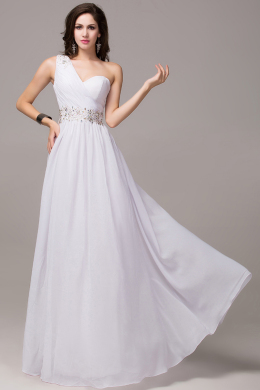 A-Line One-Shoulder Floor Length Chiffon Prom Dress Beaded