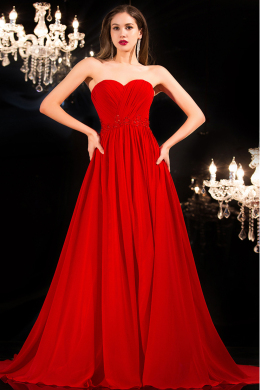 A-Line/Princess Sweetheart Neckline Sweep Train Chiffon Prom Dresses with Ruffle