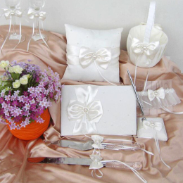 Wedding Guest Book Pen Ring Pillow Wedding Decoration Set for Favors for Guest