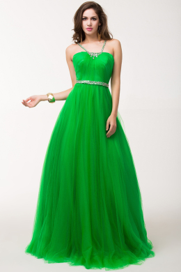 A-Line/Princess Spaghetti Straps Floor Length Tulle Prom Dress with Beaded