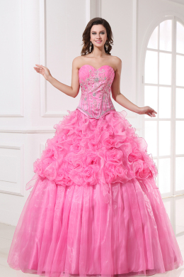 Ball Gown Strapless Floor Length Organza Quinceanera Dress with Flowers