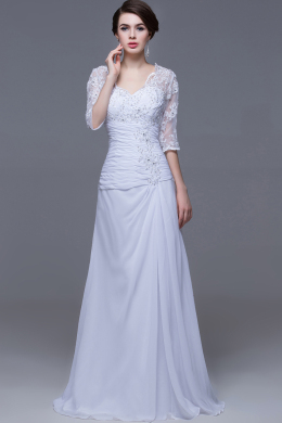 Sheath/Column Square Sweep Train Chiffon Wedding Dresses with Lace