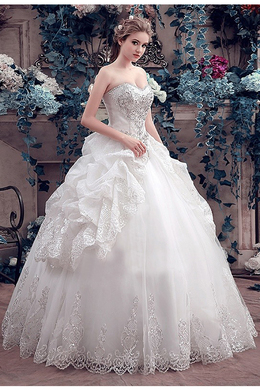 Ball Gown Tulle Floor Length Bridal Dress Wedding