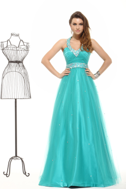 A-Line/Princess Halter Floor Length Satin Prom Dress with Beadings