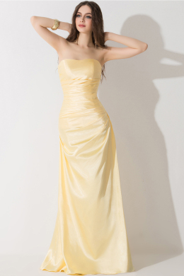 A-Line/Princess Strapless Floor Length Elastic Satin Prom Dresses With Pleats