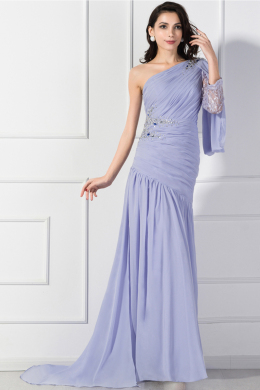 Sheath/Column One-Shoulder Sweep Train Chiffon Mother of the Bride Dresses With Applique