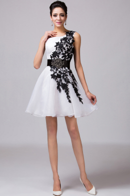 A-Line One-Shoulder Mini Length Chiffon Cocktail Dress with Appliques