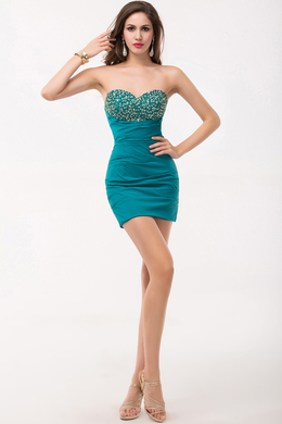 Sheath Strapless Mini Length Elastic Satin Cocktail Dress with Beaded