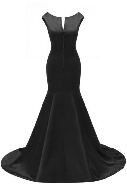 Sunvary Mermaid V-Neck Evening Dresses Satin Floor-Length Court Train Gown Buttons Back Custom Made Simple Black Event Dresses