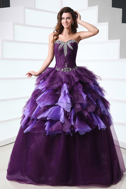 Ball Gown Strapless Floor Length Organza Quinceanera Dresses with Beadings