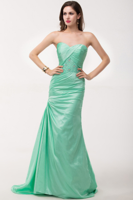 Sheath/Column Strapless Floor Length Elastic Satin Evening Dress Pleated