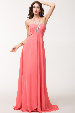 A-Line/Princess Halter Floor Length Chiffon Prom Dress with Sequins