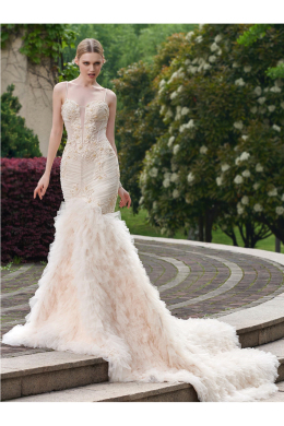 Sheath/Column Organza Court Train Luxury Wedding Dresses Brands