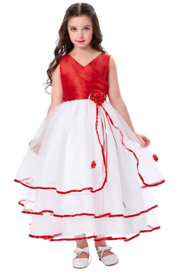 A-Line/Princess Organza Ankle-Length Dresses for Girls Wedding