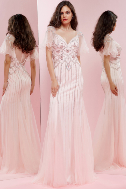Sheath/Column V-Neck Floor Length Tulle Evening Dress with Beadings