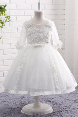 A-Line/Princess Lace Ankle-Length White Flower Girl Dresses with Sleeves