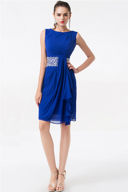 Sheath/Column Jewel Short/Mini  Chiffon Cocktail Dresses With Beads