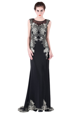 Sheath/Column Chiffon Sweep Train Designer Evening Gowns for Wedding