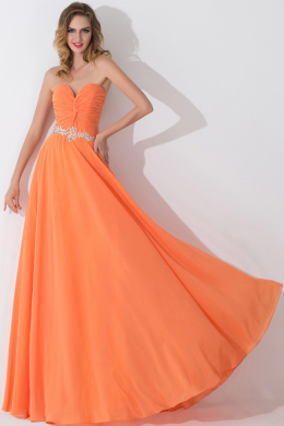 A-Line/Princess Strapless Floor Length Chiffon Birdesmaid Dress with  Embroidery