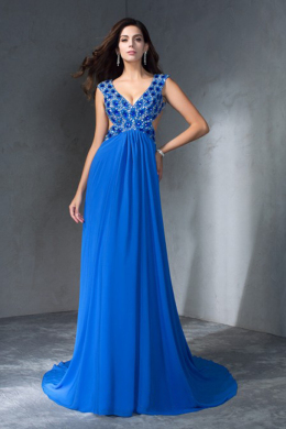 A-Line/Princess Chiffon Sweep Train Long Dresses for Prom