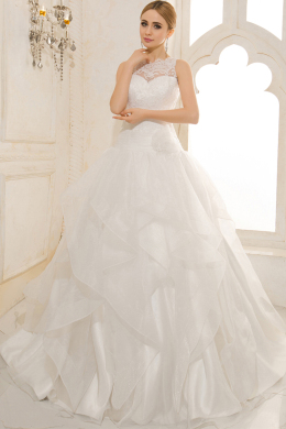 A-Line/Sheath Jewel Court Train Tulle Wedding Dresses With Applique