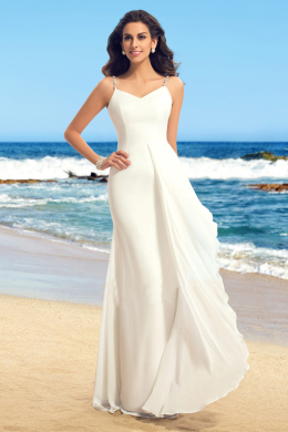 A-Line/Princess Sweetheart Neckline Floor Length Chiffon Beach Wedding Dress with Beads