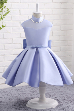 A-Line/Princess Satin Ankle-Length Violet Flower Girl Dresses