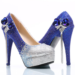 Women's Elegant Pearls Round Toe Platform High Heel Slip On Wedding Pumps Shoes