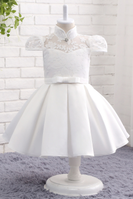 A-Line/Princess Satin Ankle-Length Flower Girl Dresses for Fall Wedding
