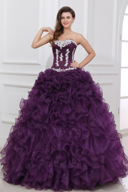 Ball Gown Strapless Floor Length Tulle Quinceanera Dress with Ruffles