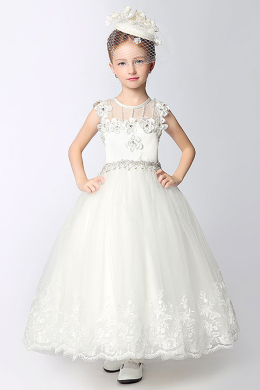 A-Line/Princess Tulle Tea Length Flower Girl Dress Brands