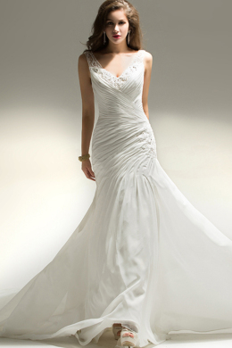 A-Line/Princess V-Neck Floor Length Chiffon Beach Wedding Dress with Beads