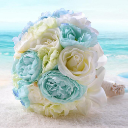 Bridal Bridesmaid Bouquets Artificial Blue Rose Flowers Bouquet Home Wedding Decoration